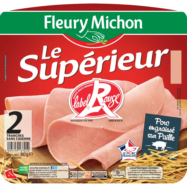 Jambon Label Rouge, Fleury Michon (2 tranches, 80 g)