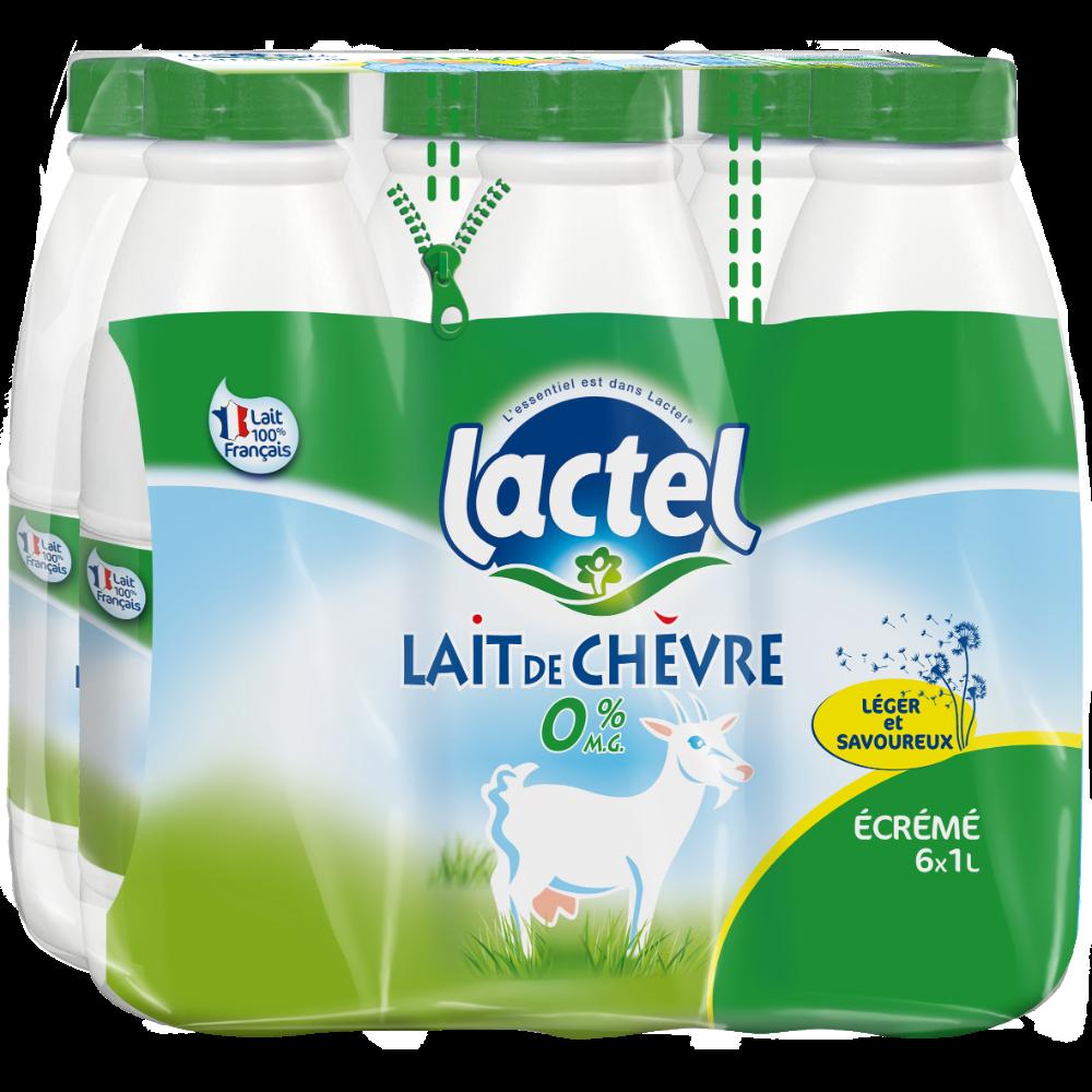 Pack de lait de chèvre  écrémé stérilisé UHT, Lactel ( 6 x 1L)