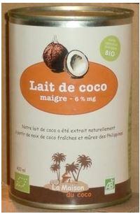 Lait de coco à boire maigre 6% MG BIO, La Maison du Coco (400 ml)