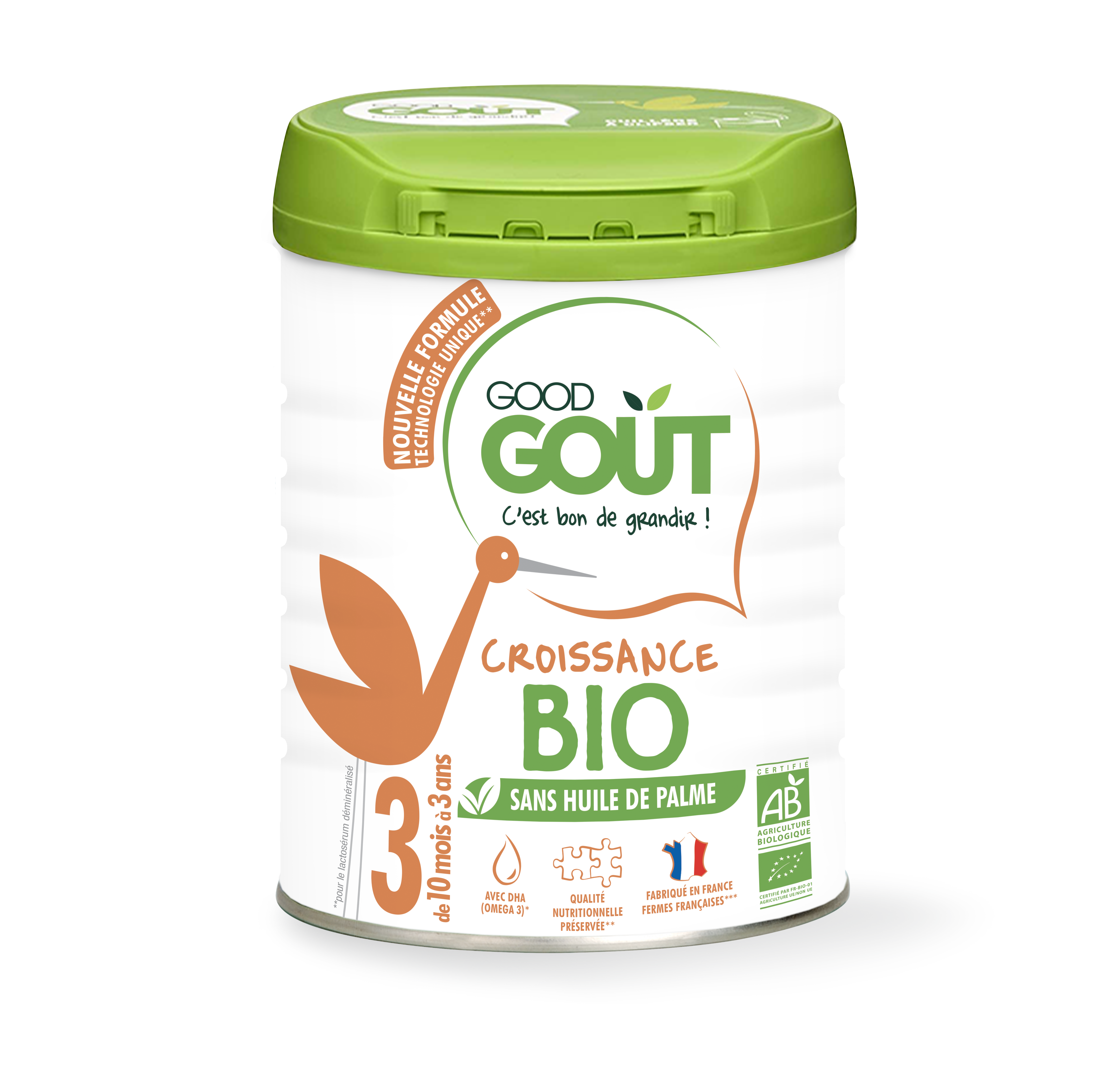 Lait de croissance 3ème âge BIO – de 10 à 36 mois, Good Goût (800 g)