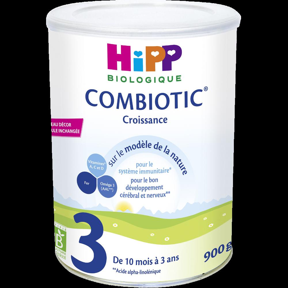 Lait de croissance combiotic 3 BIO - de 10 mois à 3 ans, Hipp (900 g)