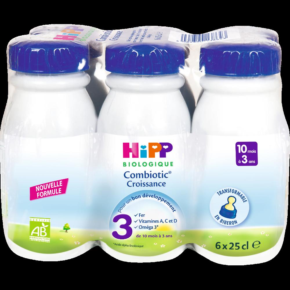 Pack Lait de croissance combiotic 3 BIO - de 10 mois à 3 ans, Hipp (6 x 25 cl)