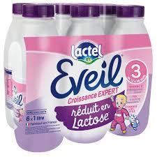 Pack Lait de croissance réduit en lactose 3 Eveil - de 10 à 36 mois, Lactel  (6 x 1 L)