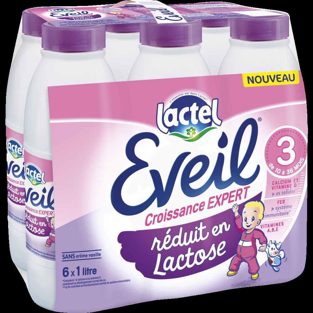 Lait de croissance réduit en lactose 3 Eveil - de 10 à 36 mois, Lactel  (1 L)