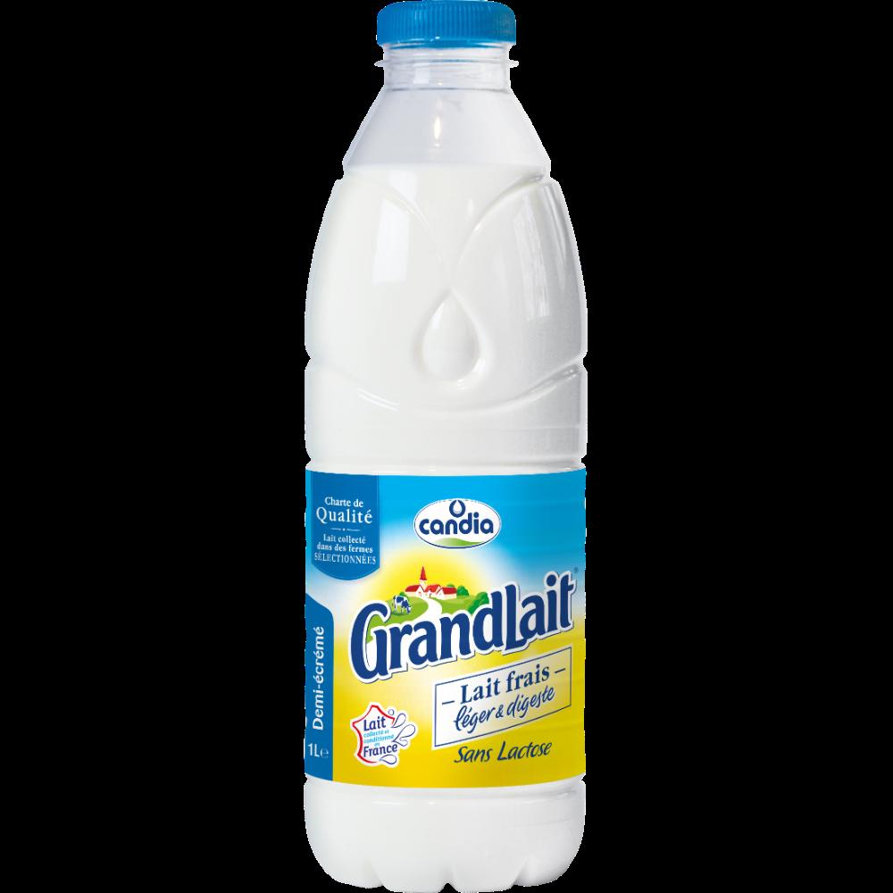 Lait frais léger et digeste demi-écrémé sans lactose, Grand Lait (1 L)