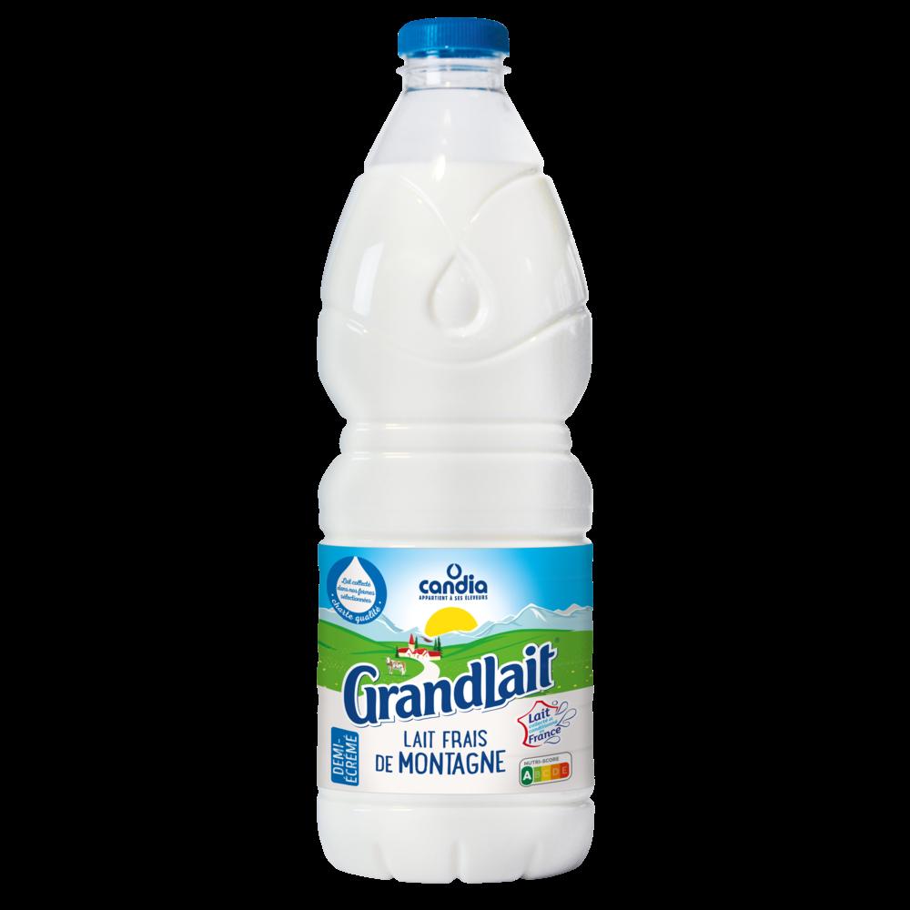 Lait frais pasteurisé 1/2 écrémé de montagne, Grandlait (2 L)