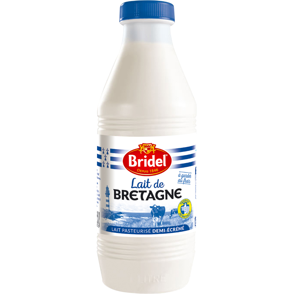 Lait frais pasteurisé demi écrémé Bridel (1 L)