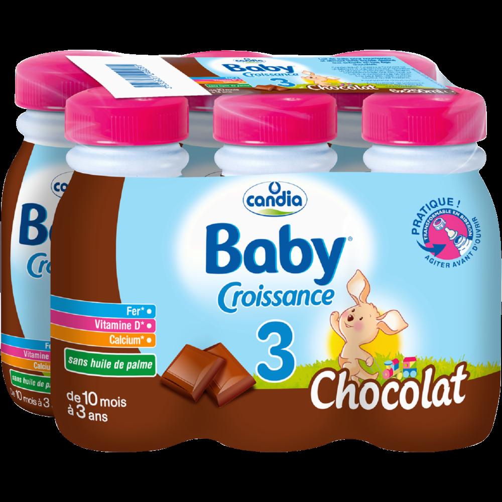 Lait pour bébé au chocolat 3, dès 10 mois, Candia baby (25 cl)