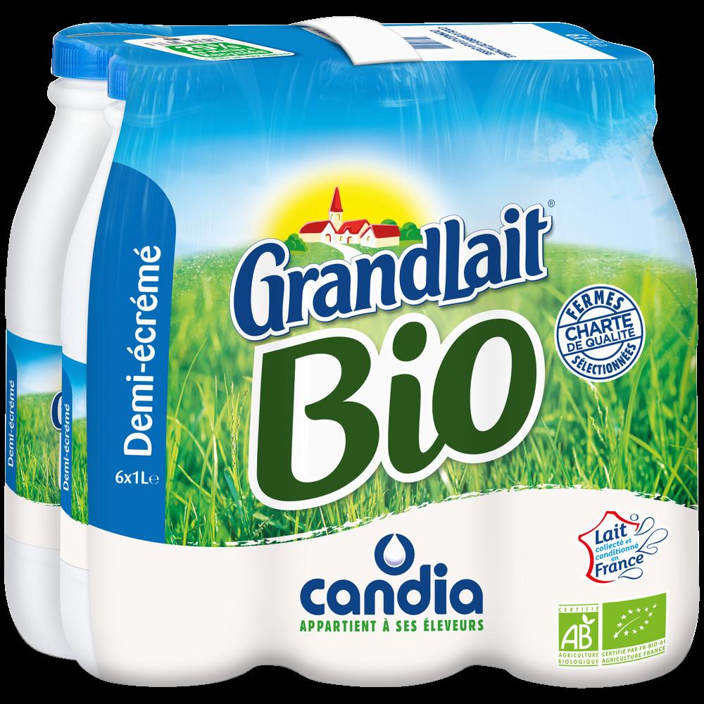 Pack de lait UHT demi-écrémé BIO, Grandlait (6 x 1 L)