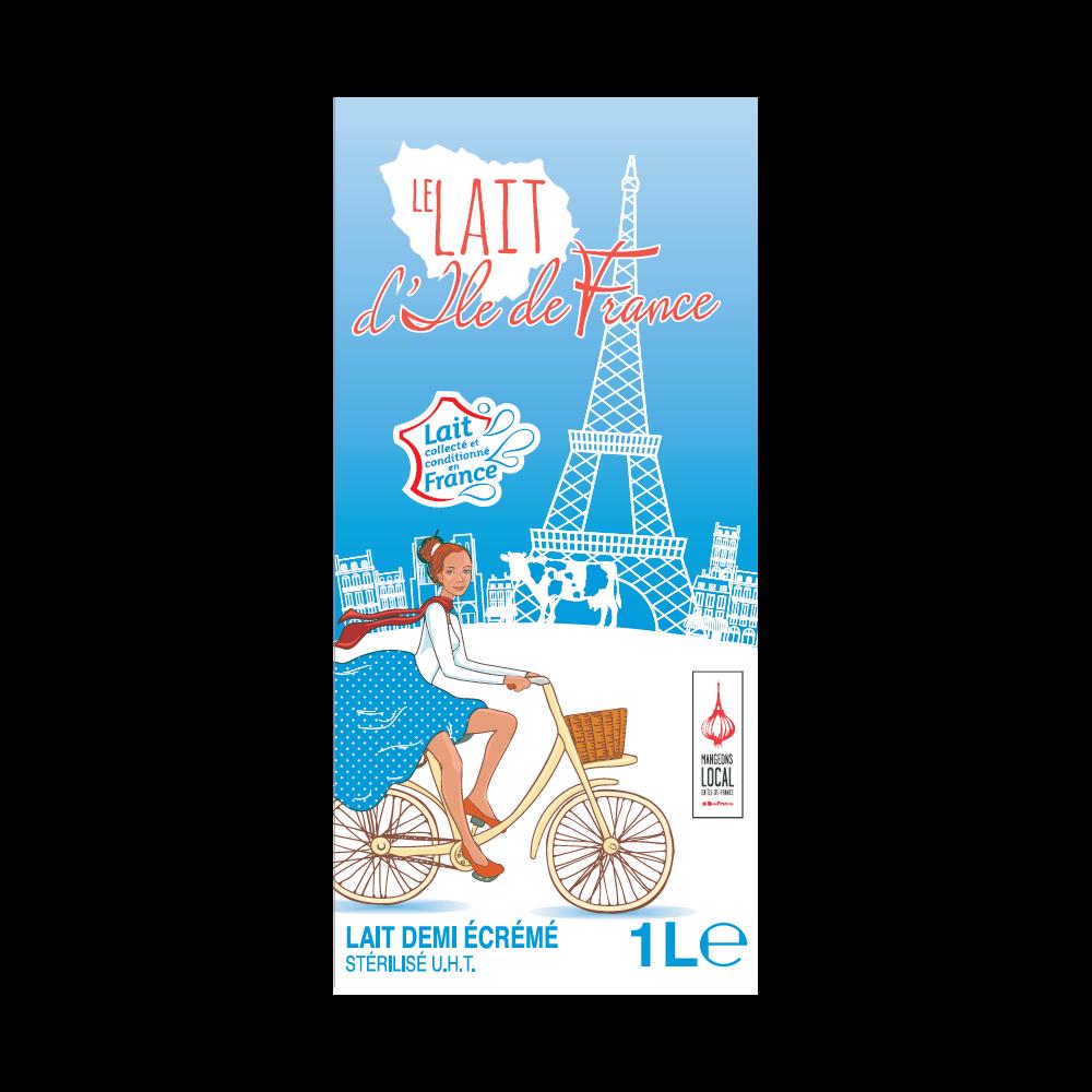 Lait demi-écrémé, Ile de France (1 L)