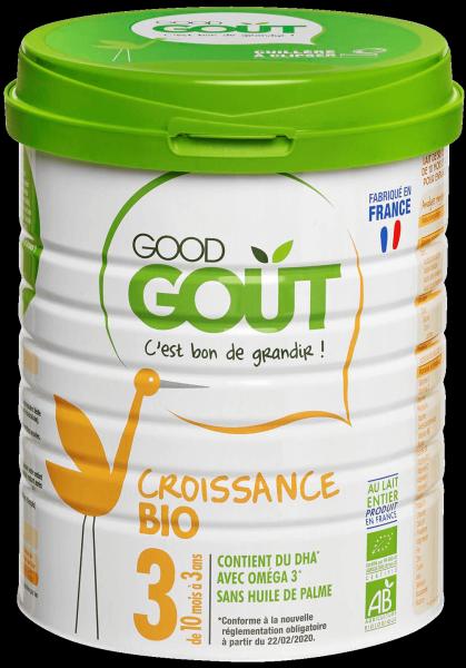 Lait de croissance 3 BIO – de 10 à 36 mois, Good Goût (800 g)