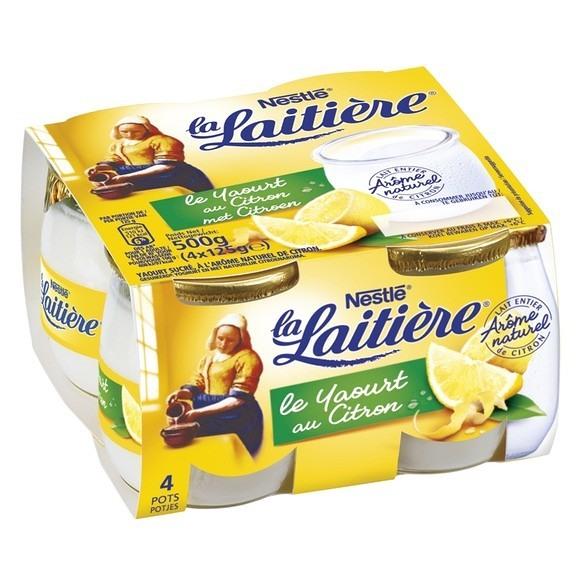 Yaourt saveur Citron, La Laitière (4 x 125 g)