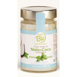 Huile de coco au basilic BIO Huilerie Lapalisse (20 cl)