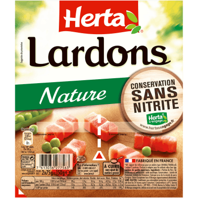Lardons natures sans nitrite, Herta (2 x 75 g)