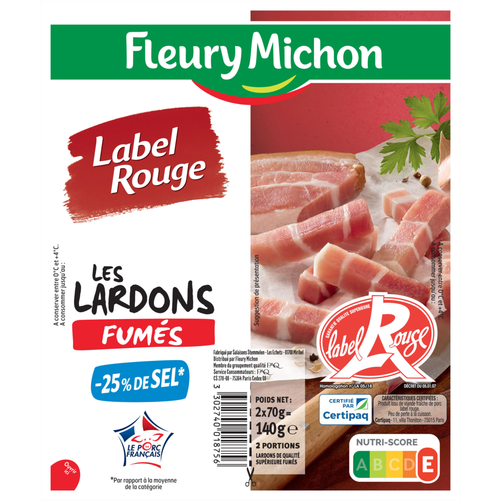 Lardons fumés Label Rouge -25% de sel, Fleury Michon (2 x 70 g)