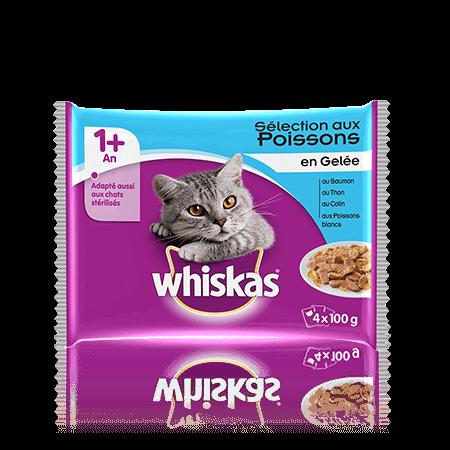 Gelée de poisson pour chats adultes, Whiskas (4 x 100 g)