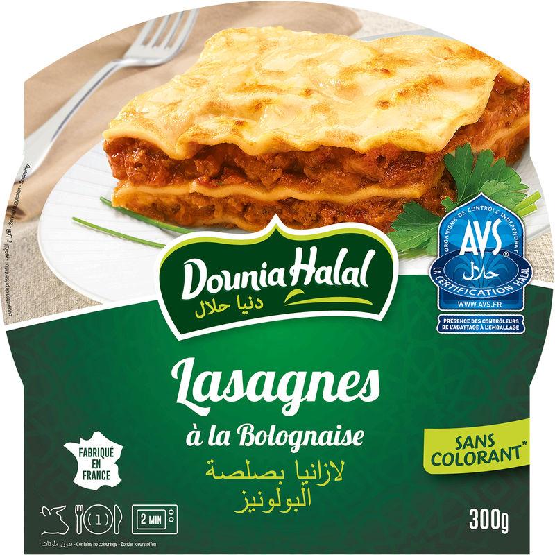 Lasagne à la Bolognaise Halal micro-ondable, Dounia Halal (300 g)
