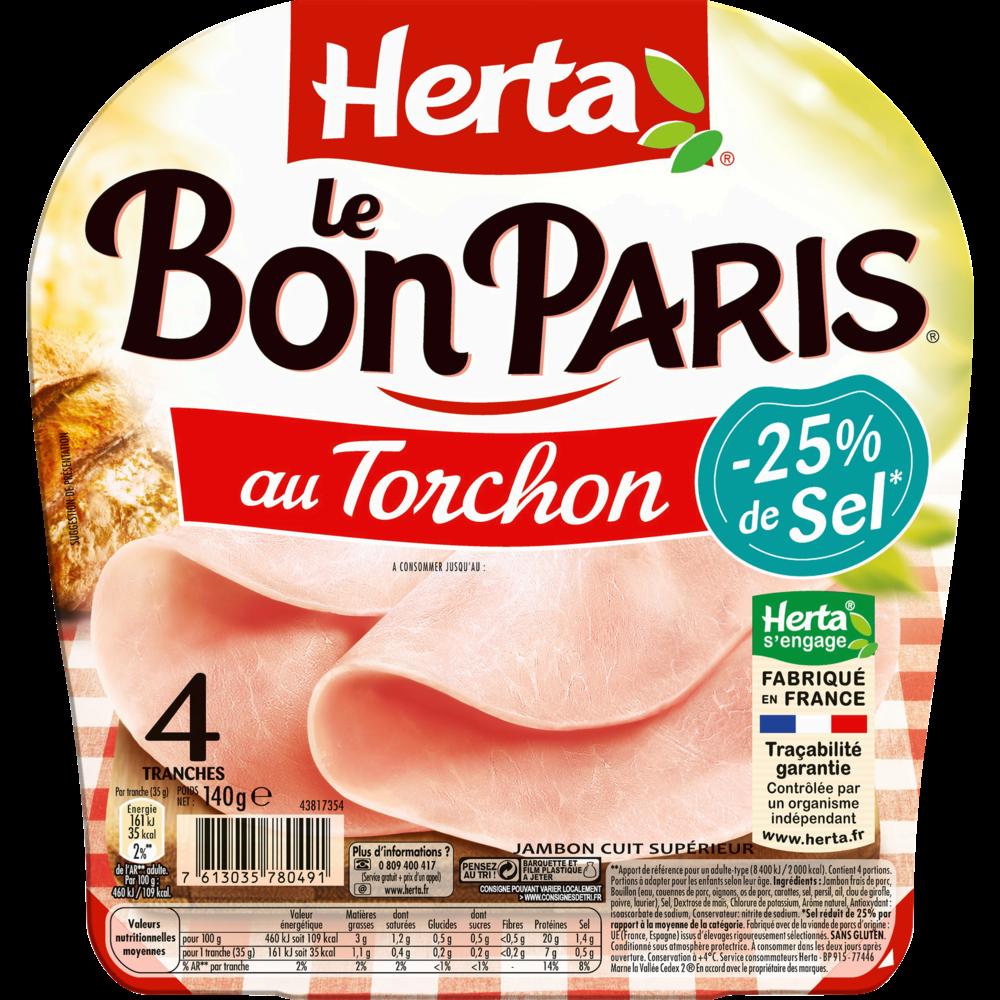 Le Bon Paris au torchon -25% sel, Herta (4 tranches, 140 g)