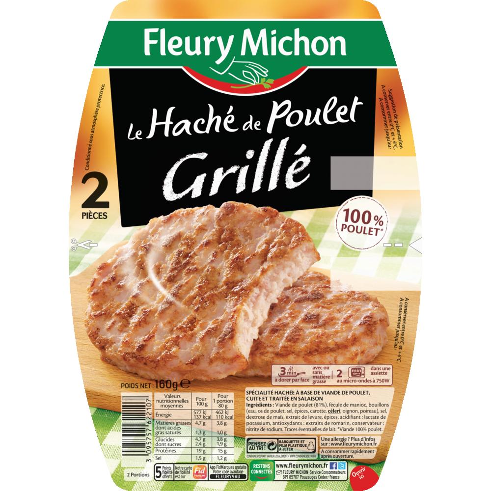 Le haché de poulet grillé, Fleury Michon (2 x 80 g)