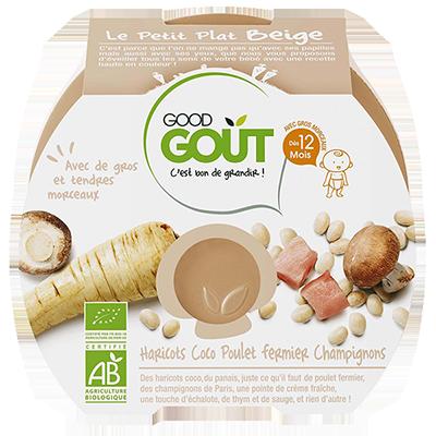 Le petit plat beige : haricots coco poulet fermier, champignons BIO - dès 12 mois, Good Goût (220 g)