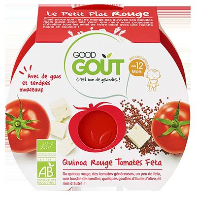 Le petit plat rouge : Quinoa rouge, tomates, Fêta BIO - dès 12 mois, Good Goût (220 g)