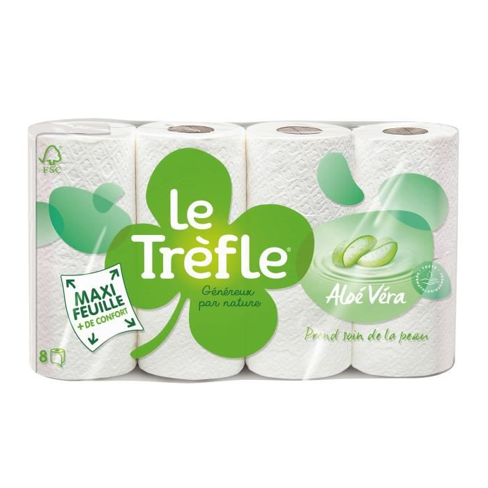 Papier toilette Aloe Vera, Le Trèfle (x 8)