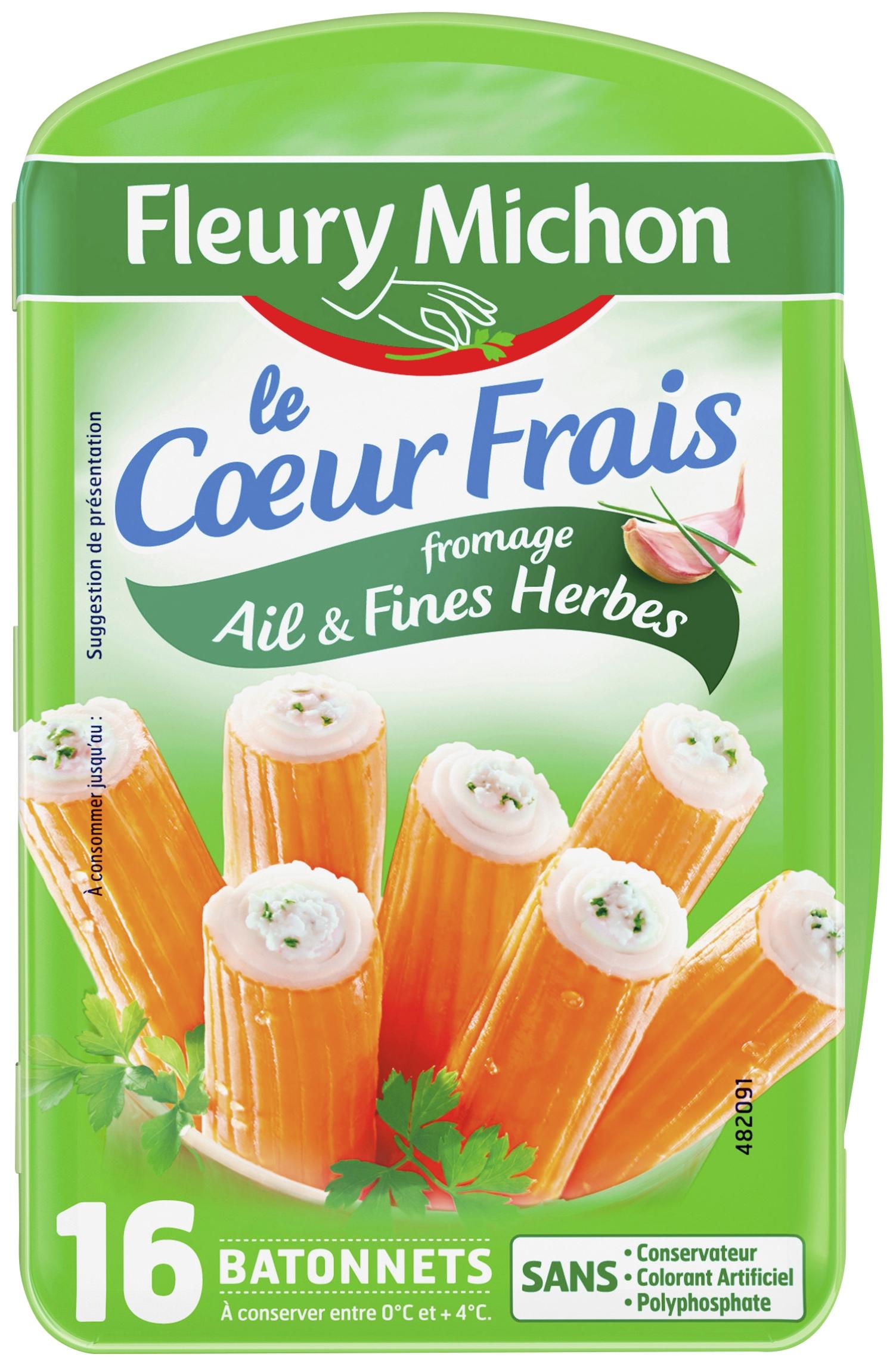 Bâtonnets de Surimi Le coeur frais ail et fines herbes, Fleury Michon (x 16, 256 g)
