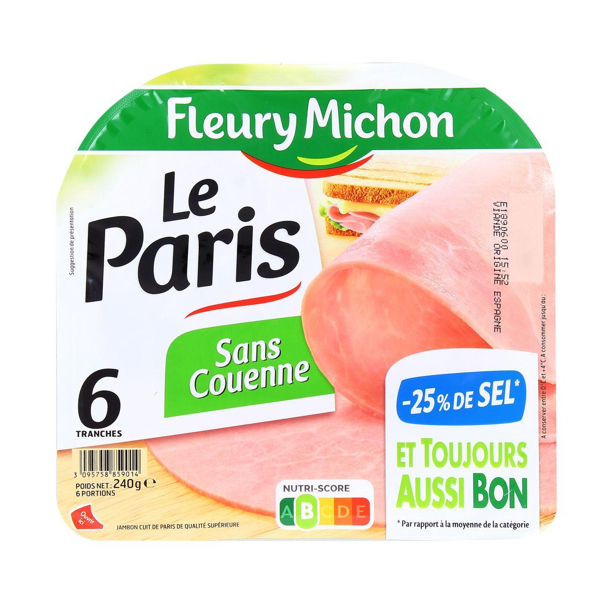 Jambon Le Paris sans couenne -25% de sel, Fleury Michon (6 tranches, 240 g)