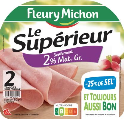 Jambon Le Supérieur léger 2% mg, -25% de sel, Fleury Michon (2 tranches, 80 g)