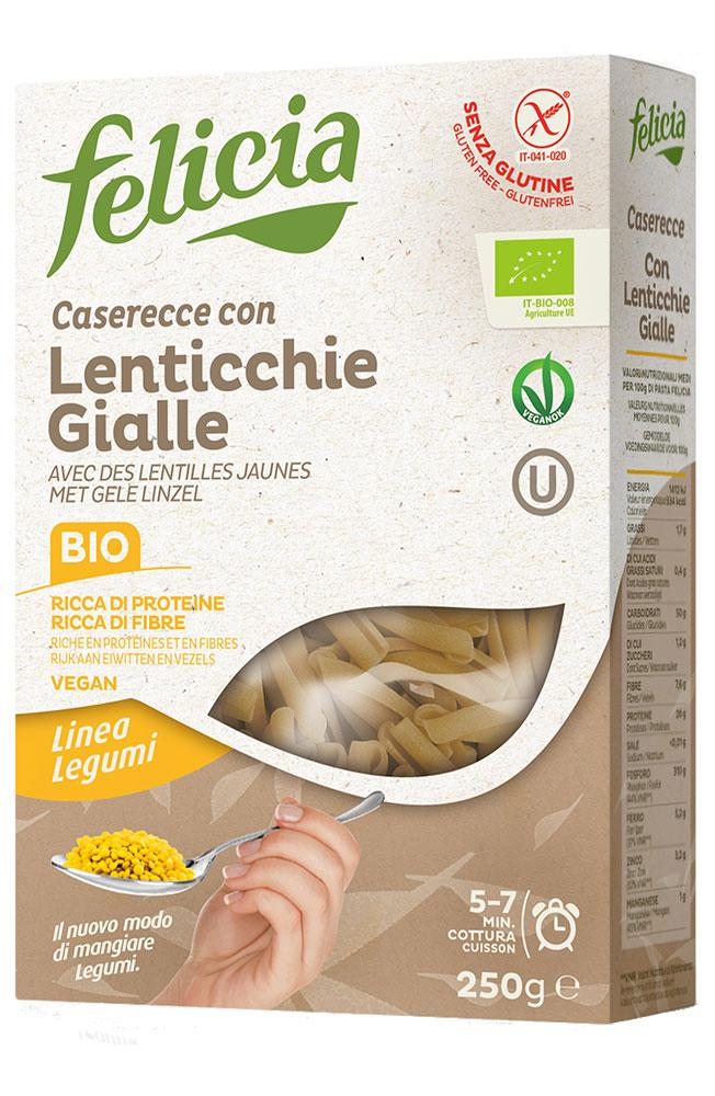 Casarecce aux lentilles jaunes BIO et sans gluten, Felicia (250 g)