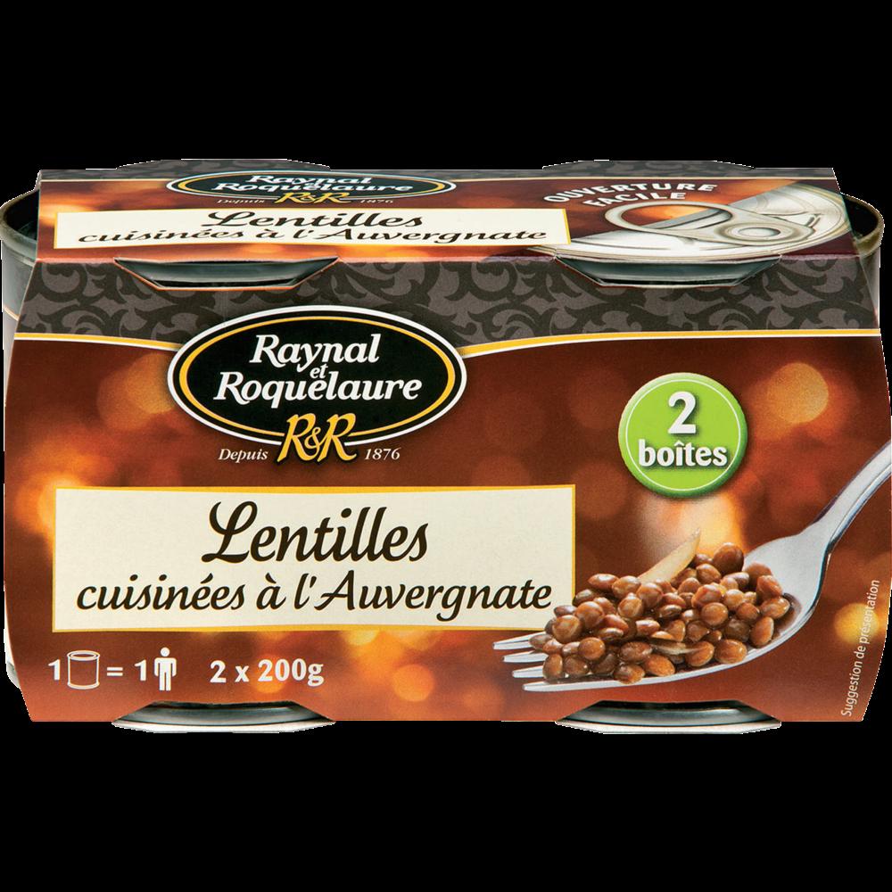 Lentilles cuisinées à l'auvergnate, Raynal et Roquelaure (2 x 200 g)