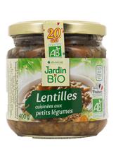 Lentilles cuisinées aux petits légumes, Jardin Bio (400 g)