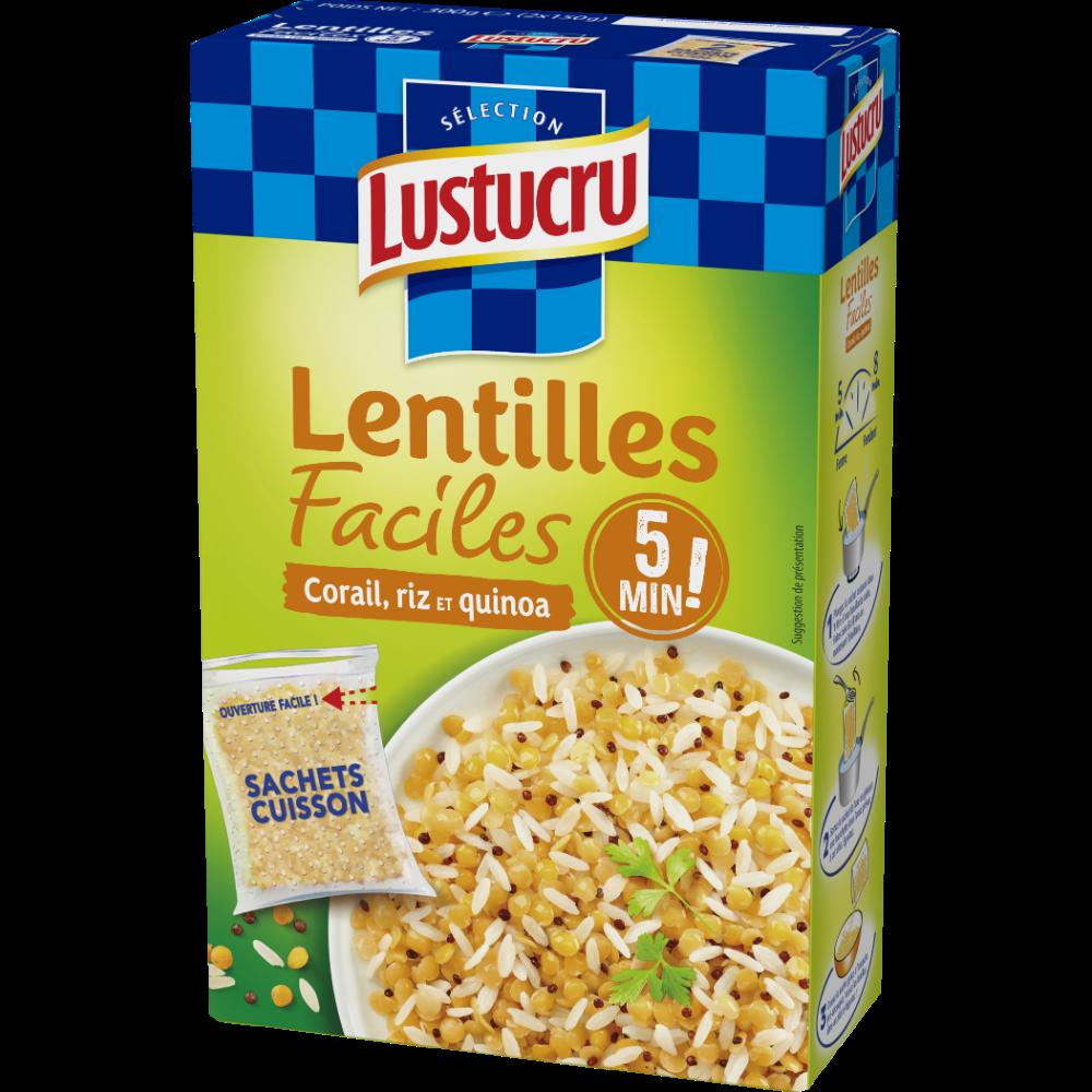 Lentilles faciles corail riz et quinoa, Lustucru (2 x 150 g)