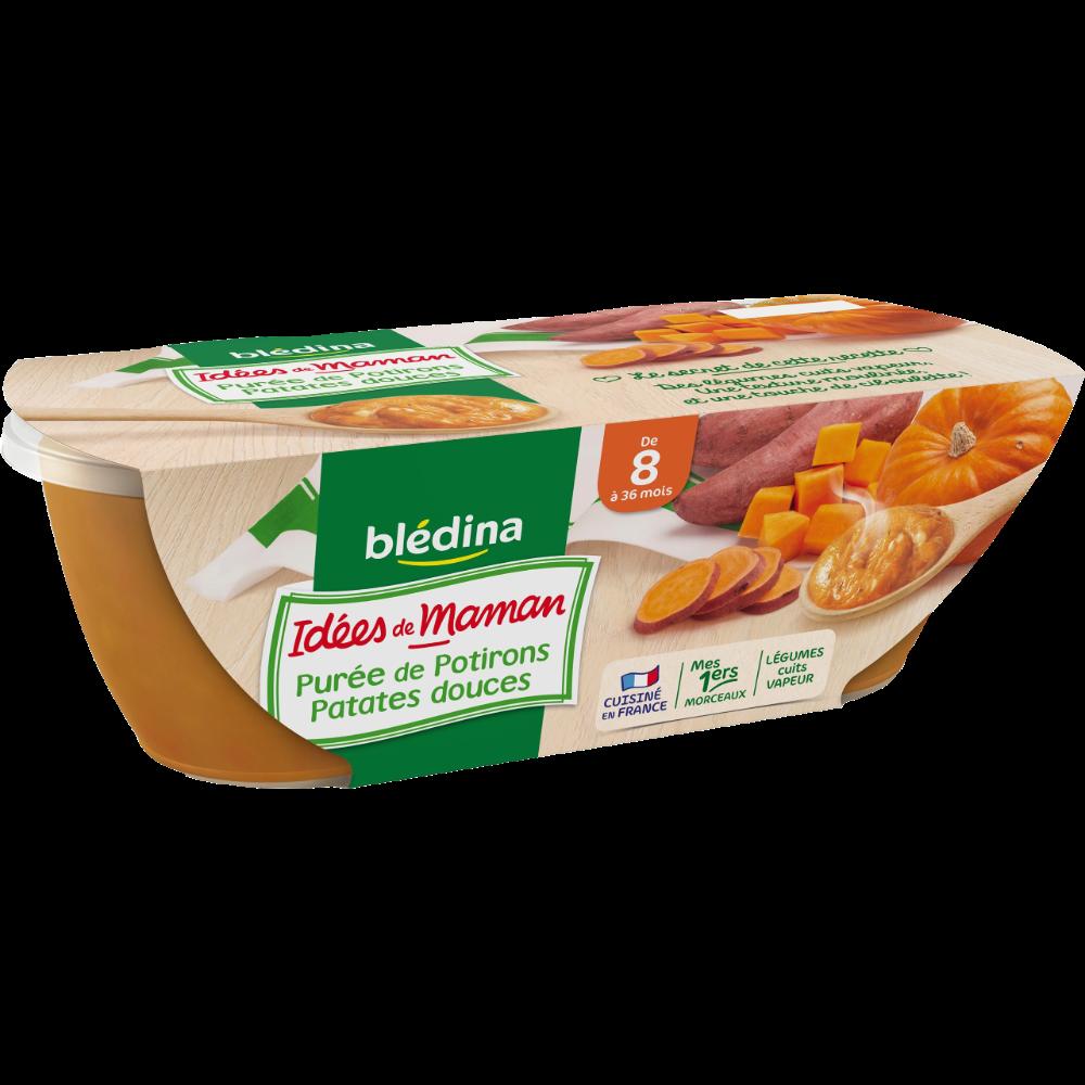Bols purée de potiron, patate douce Idées de Maman - dès 6 mois, Blédina (2 x 200 g)