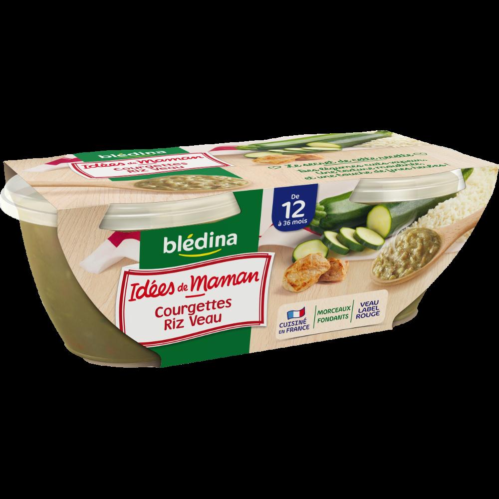 Bols de courgettes, riz, veau et fines herbes Idées de maman - dès 12 mois, Blédina (2 x 200 g)