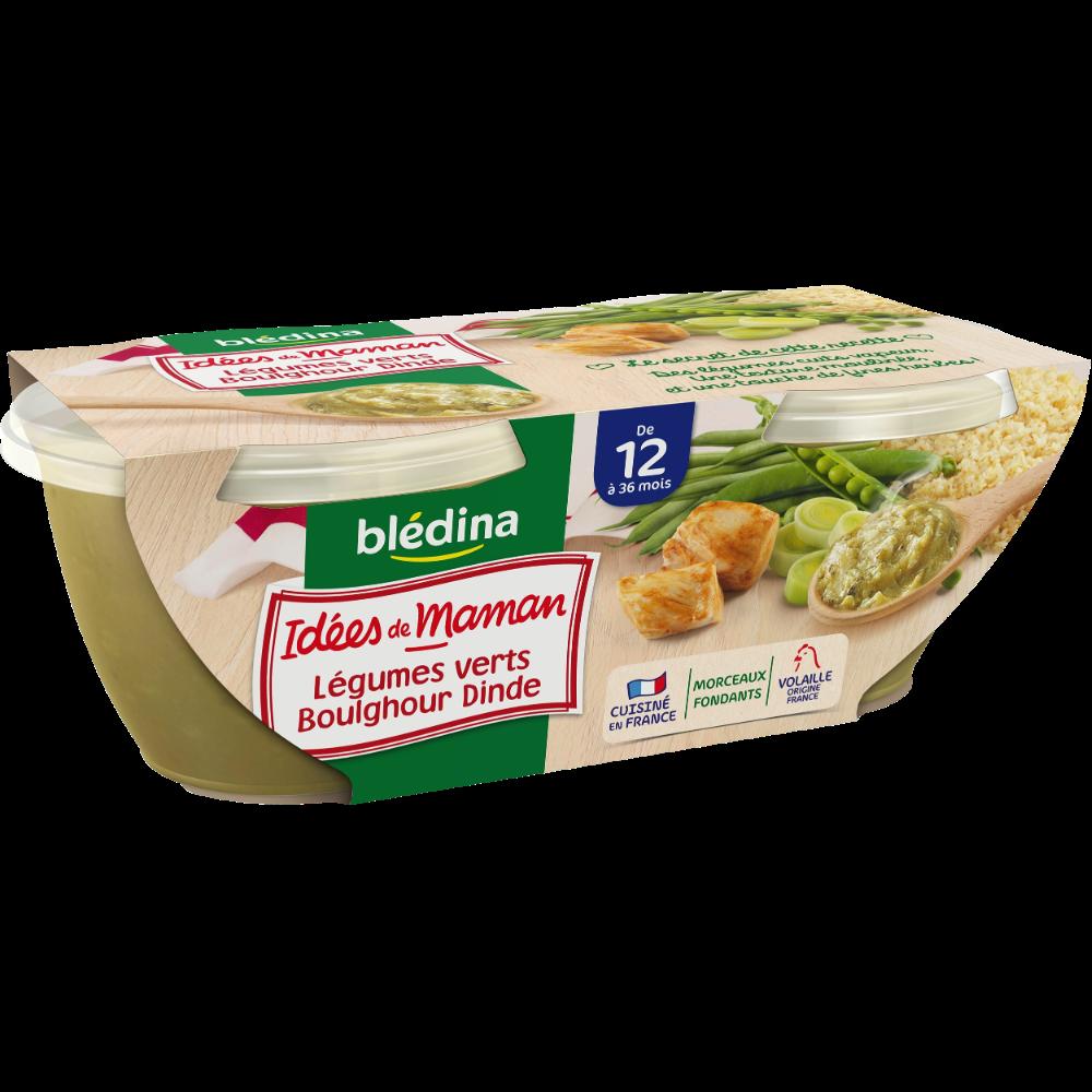 Bols légumes verts, boulghour, dinde Idées de maman - dès 12 mois, Blédina (2 x 200g)