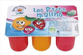 Les P'tits Malins BIO, fromage frais aux fruits 20% MG, Grandeur Nature (x 6, 360 g)