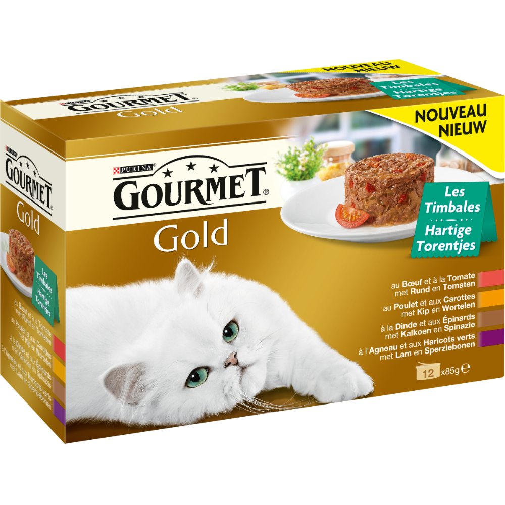 Timbales Gourmet Gold pour chat, Purina (12 x 85 g)