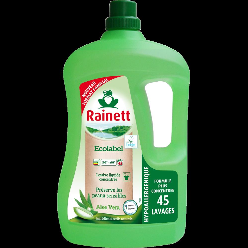 Lessive liquide concentrée écologique aloé véra, Rainett (3 L)