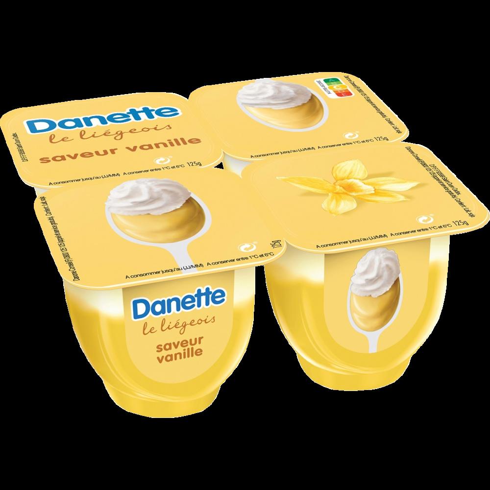 Liégeois à la vanille, Danette (4 x 100 g)