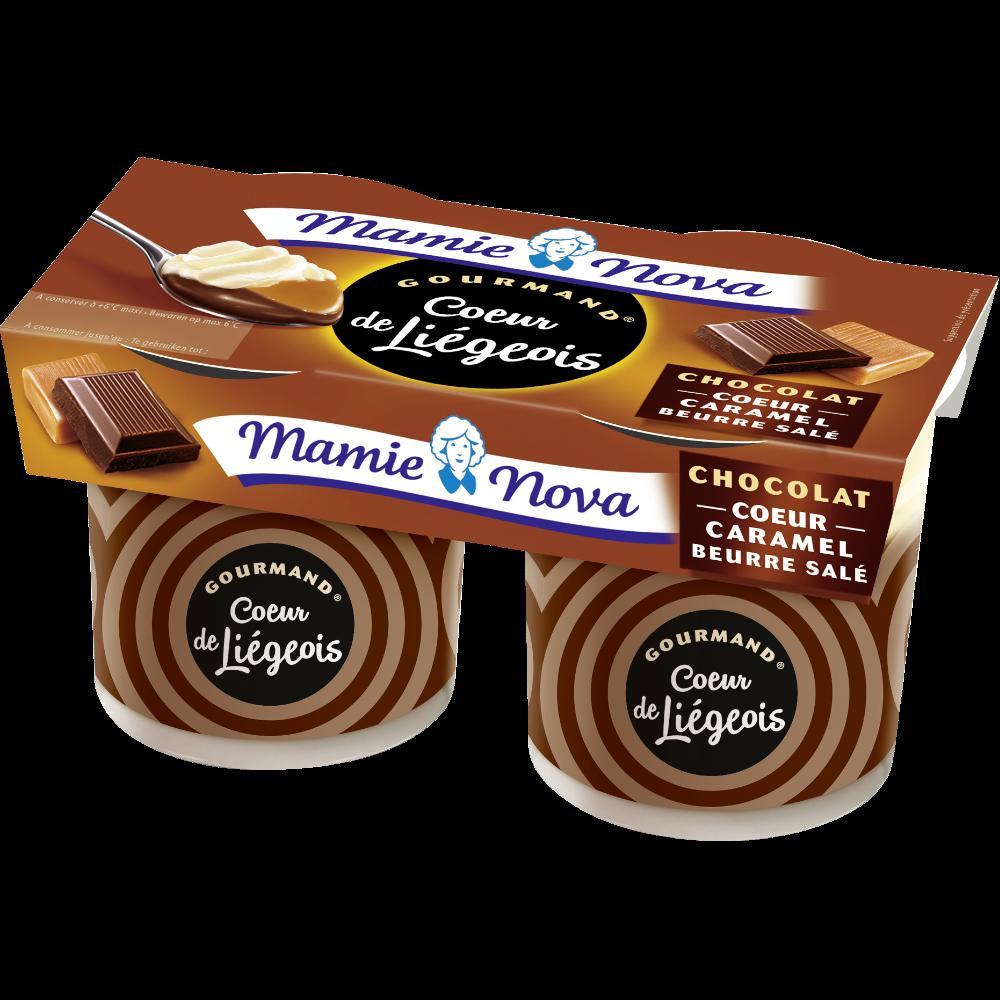 Liégeois chocolat coeur caramel, Mamie Nova (2 x 120 g)