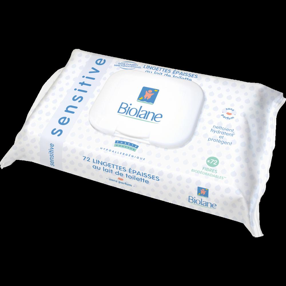 Lingettes épaisses sensitive au lait de toilette, Biolane (x 72)