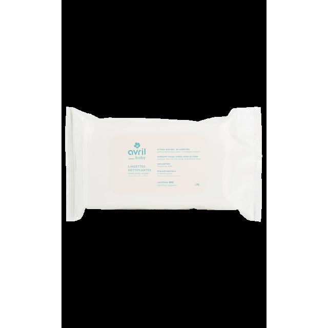 Lingettes nettoyantes bébé certifié BIO, Avril (x 72)