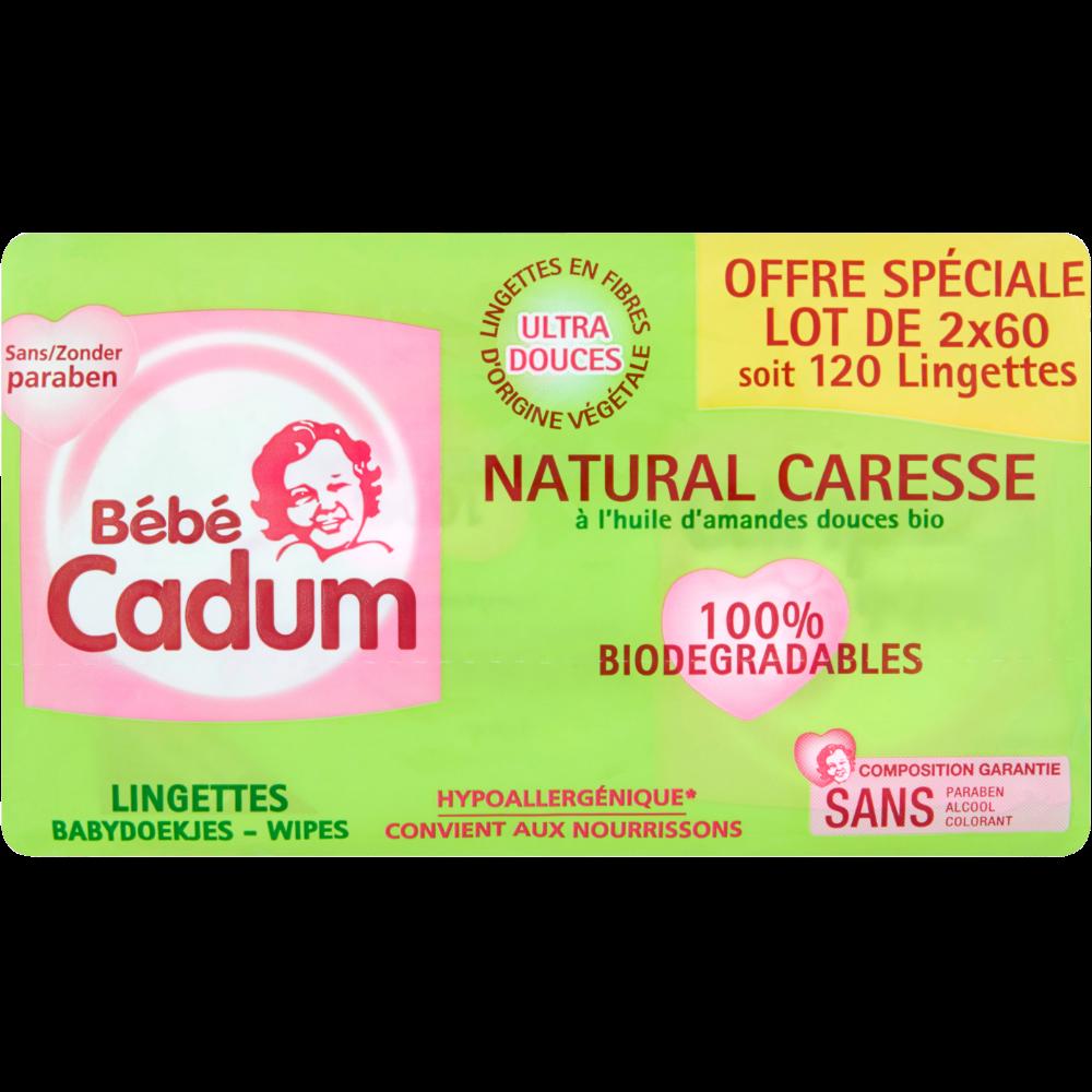 Lingettes pour bébés Natural Caresse, Bébé Cadum (2 x 60)