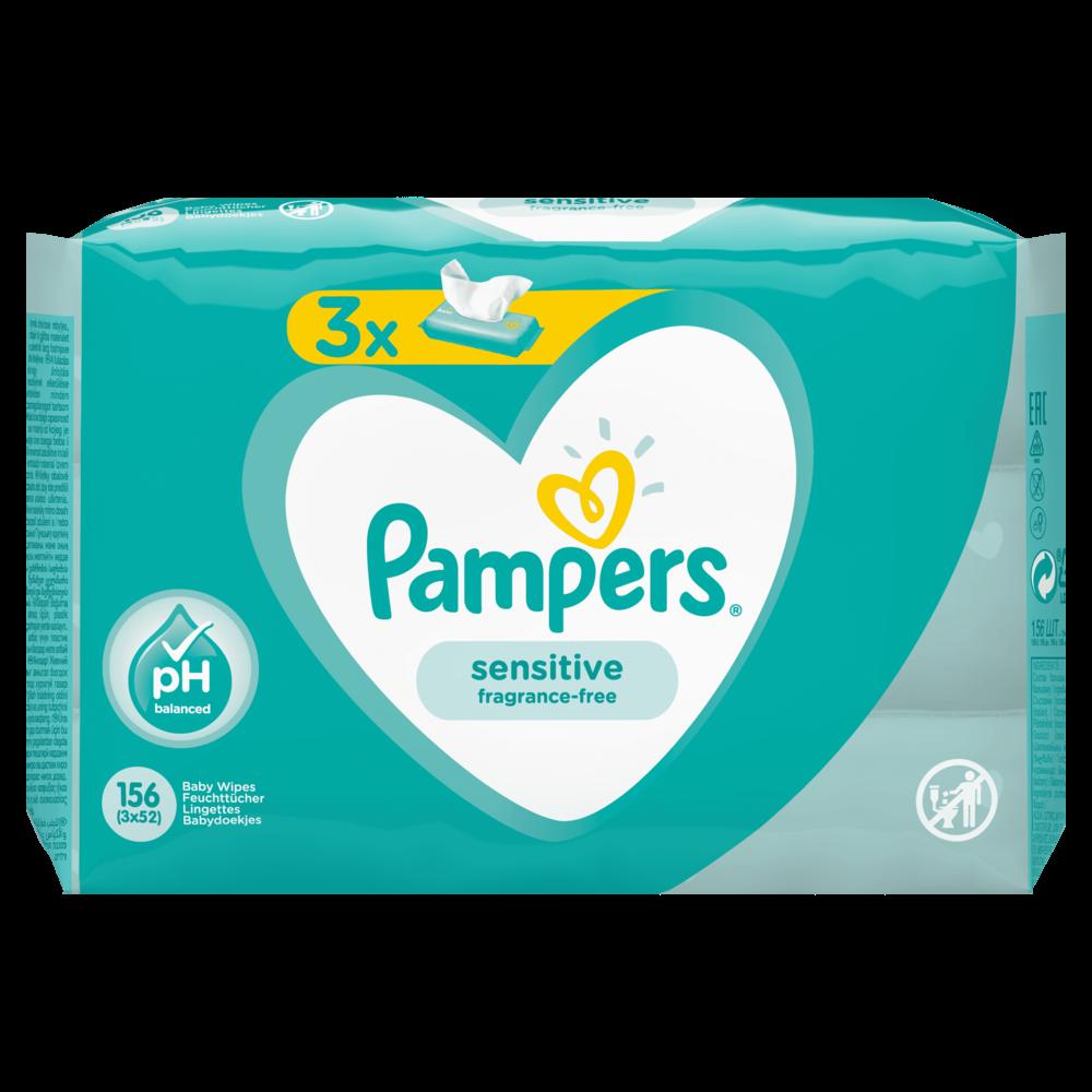 Lingettes sensitive, Pampers (3 x 52)