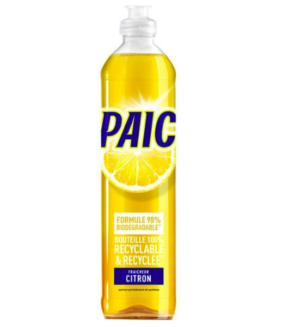 Liquide vaisselle senteur Citron bouteille cylindrique recyclée, Paic (550 ml)