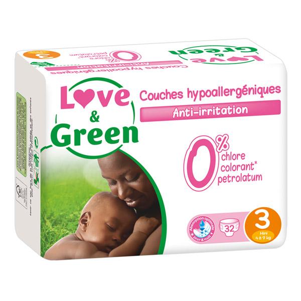 Couches Bébé Hypoallergéniques 0% Love & Green - Taille 3/4-9 kg (x 32 couches)