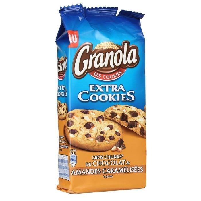 Granola Extra Cookies gros éclats de chocolat et amandes caramélisées, Lu (184 g)