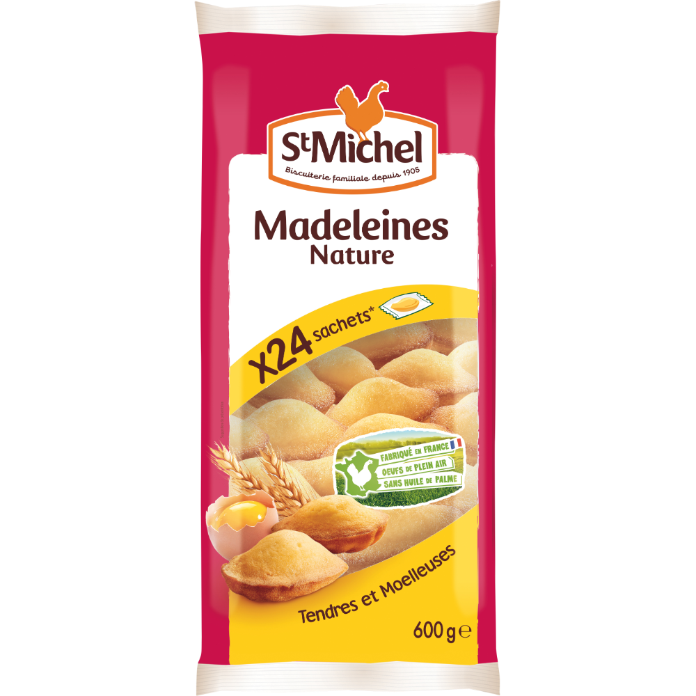Madeleines natures tendres et moelleuse, St Michel (x 24, 600 g)