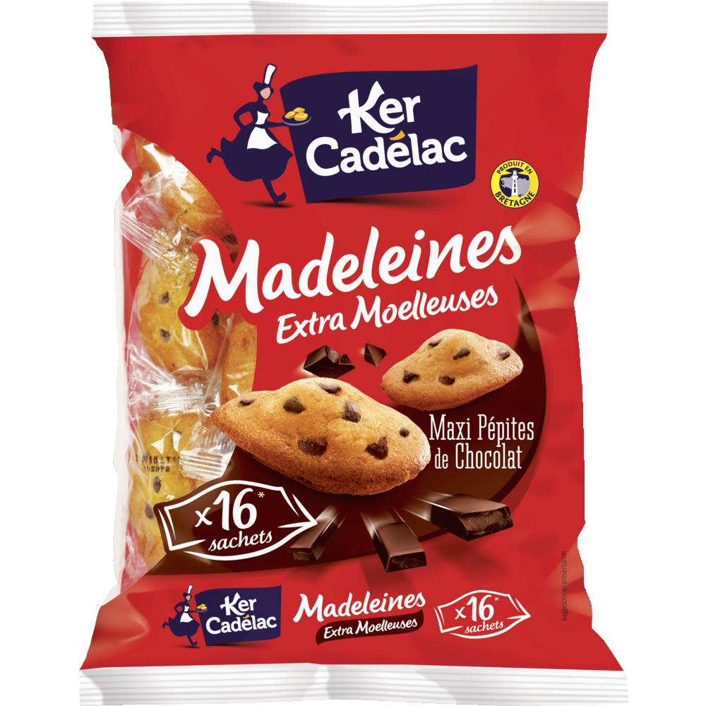 Madeleines moelleuses extra maxi pépites de chocolat, Ker Cadelac (400 g)